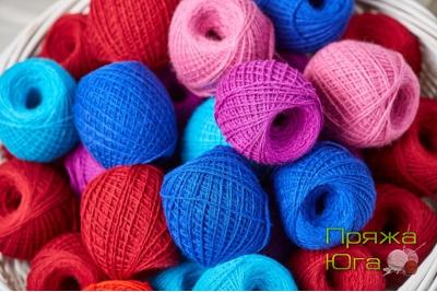 Пряжа цветная для ручного вязания в клубках 100 граммов