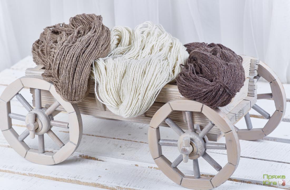 Пряжа шерстяная (носочная) для ручного вязания в пасмах